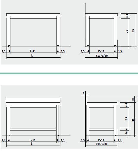 Scheda tecnica tavoli da lavoro inox