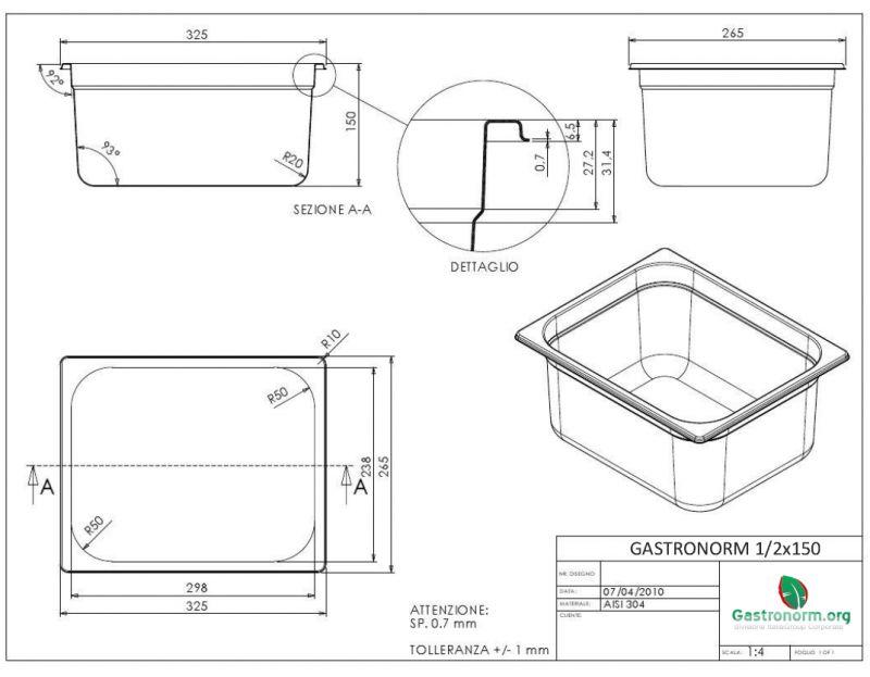 gastronorm 1 2 h150 bacinella gastronorm in acciaio inox aisi 304 gn 1 2 dim 325x265 altezza. Black Bedroom Furniture Sets. Home Design Ideas