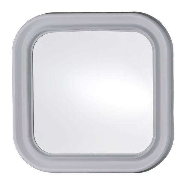 T150000 Specchio quadrato in vetro con cornice ABS bianca 46x46cm