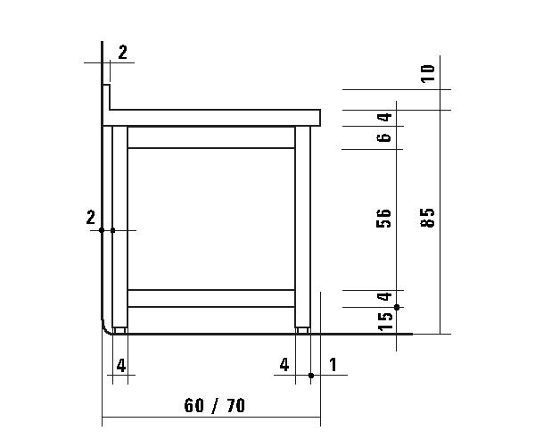 Altezza Tavolo Lavoro.Tl5145 Tavolo Da Lavoro In Acciaio Inox Aisi 304 Alzatina Ripiano 50x60x85