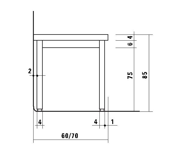Tavolo da lavoro in acciaio inox aisi 304 su gambe - Dimensioni tavolo tondo 4 persone ...
