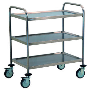 TEC1101 - carrito de acero inoxidable con 3 estantes moldeados