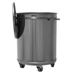 MC1000 Pattumiera carrellata rotonda inox AISI 304 da 50 litri