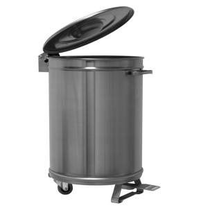 MC1007 Dustbin Round steel 100 liter wheeled pedal opening-PROMOTION -