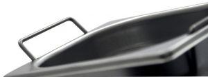 GST1/6P150M Récipient Gastronorm 1 / 6 H150 avec des poignées en acier inox AISI 304