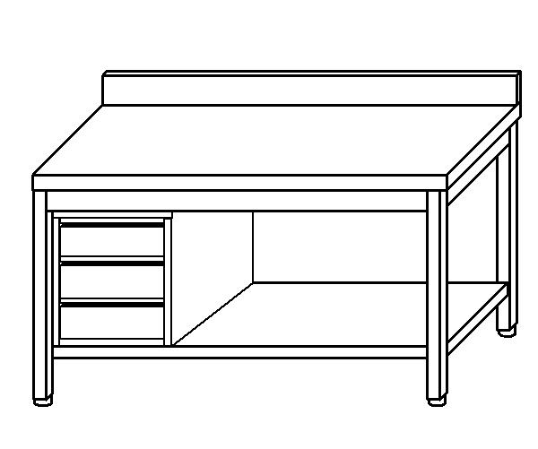 Tavolo da lavoro in acciaio inox AISI 304 su gambe con alzatina e ripiano e cass