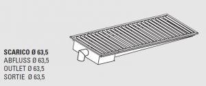 85010.22 Piletta sifonata a pavimento da cm 220x30x12h con filtro e scarico verticale laterale