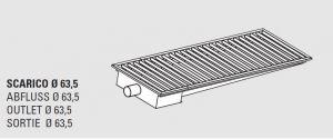 85111.22 Piletta sifonata a pavimento da cm 220x40x12h con filtro e scarico orizzontale laterale