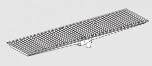 85020.28 Piletta sifonata a pavimento da cm 280x30x12h con filtro e scarico verticale frontale