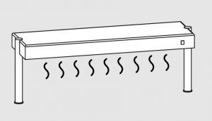 64011.15 Ripiano di appoggio tavoli 1 ripiano caldo 2 gambe cm 150x35x40h