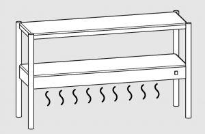 64101.15 Ripiano di appoggio tavoli 1 ripiano sup neutro cm 150x35x70h 1 ripiano inf caldo