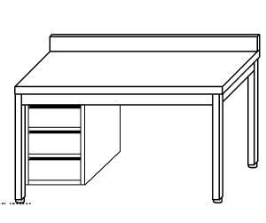TL5326 Tavolo da lavoro in acciaio inox AISI 304 cassettiera sx alzatina 100x70x85