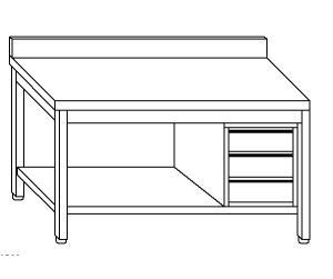 TL5367 Tavolo da lavoro in acciaio inox AISI 304 cassettiera dx alzatina ripiano 190x70x85