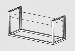 66001.12 Supporto pensile a soffitto cm 128x40x140h