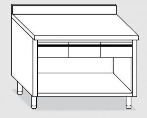 23004.13 Tavolo armadio a giorno agi cm 130x60x85h alzatina posteriore - 3 cassetti orizzontali
