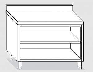 23001.14 Tavolo armadio a giorno agi cm 140x60x85h alzatina posteriore -ripiano intermedio e di fondo