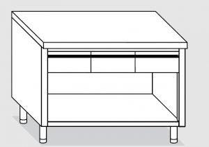 23003.16 Tavolo armadio a giorno agi cm 160x60x85h piano liscio - 3 cassetti orizzontali