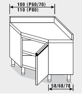 23403.10 Tavolo armadio agi ad angolo cm 100x60x85h alzatina posteriore - porta a battente