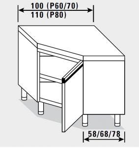 23402.10 Tavolo armadio agi ad angolo cm 100x60x85h piano liscio - porta a battente