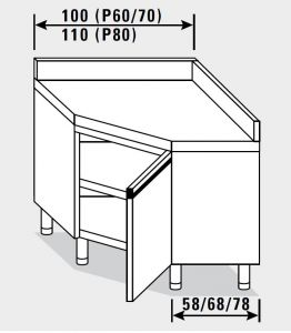 23503.10 Tavolo armadio agi ad angolo cm 100x70x85h alzatina posteriore - porta a battente