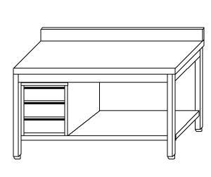 TL5376 Tavolo da lavoro in acciaio inox AISI 304 cassettiera sx alzatina ripiano 120x70x85