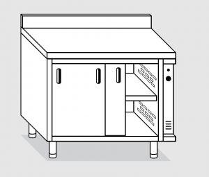 23601.13 Tavolo armadio caldo agi cm 130x60x85h alzatina posteriore - porte scorrevoli