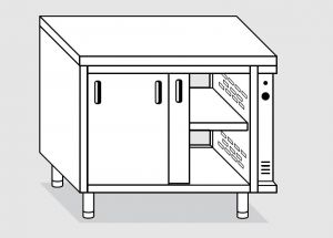 23602.14 Tavolo armadio caldo agi cm 140x60x85h piano liscio - porte scorrevoli su due lati