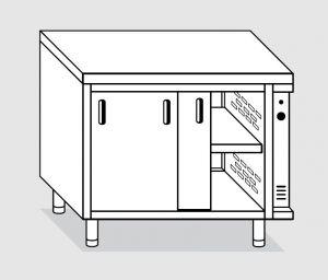 23703.14 Tavolo armadio caldo agi cm 140x80x85h piano liscio - porte scorrevoli