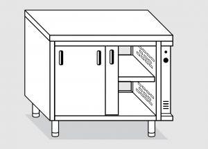 23702.15 Tavolo armadio caldo agi cm 150x70x85h piano liscio - porte scorrevoli su due lati