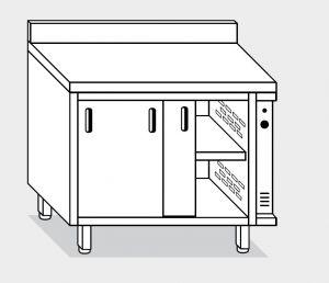 13601.18 Tavolo armadio caldo g40 cm 180x60x85h alzatina post- p scorrevoli -2 unita' calde