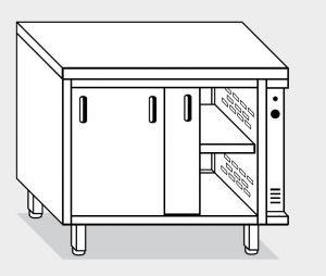 13702.18 Tavolo armadio caldo g40 cm 180x70x85h piano liscio - porte su due lati- 2 unita' calde