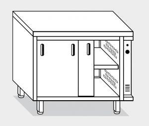 13700.20 Tavolo armadio caldo g40 cm 200x70x85h piano liscio - porte scorrevoli - 2 unita' calde