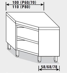 13400.10 Tavolo armadio g40 ad angolo cm 100x60x85h piano liscio - a giorno