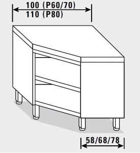 13504.11 Tavolo armadio g40 ad angolo cm 110x80x85h piano liscio - a giorno