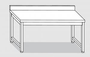 30001.10 Tavolo su 4 gambe past cm 100x80x85h alzatina posteriore-senza ripiano inferiore