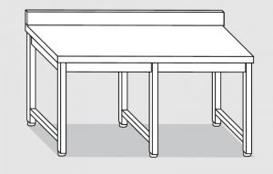 30001.38 Tavolo su 6 gambe past cm 380x80x85h alzatina posteriore-senza ripiano inferiore
