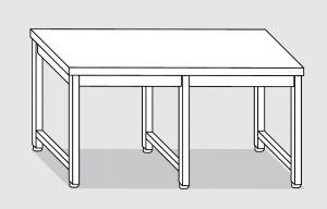 30000.38 Tavolo su 6 gambe past cm 380x80x85h piano liscio-senza ripiano inferiore