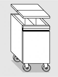 18078.47 Tramoggia carrellata con divisorio da cm 45x75x76h completa di coperchio
