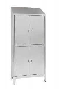 IN-694.06 Multi-storey cupboard in 4-door 4-seater Aisi 304 stainless steel with dirty / clean partition Cm. 95X40X215H
