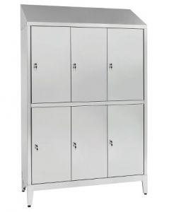 IN-694.10.430 Armoire à plusieurs étages en acier inoxydable Aisi 430 6 places 6 portes avec cloison sale / propre Cm. 1