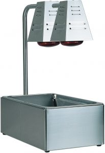 BI4719D Stainless steel GN container with 2 Infrared lamps 60x33x68h