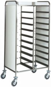 CA1460PW Stainless steel Tray-holder trolley for 20 trays wengé side panels