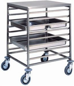CA1477 Stainless steel GN pan trolley 8 GN2/1 16 GN1/1