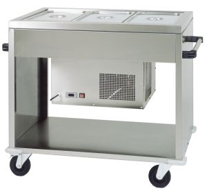 CAR2779 Stainless steel Refrigerated trolley  (+2°+10°C) 3 GN1/1 124x72x94h
