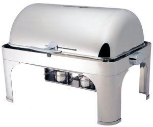 CD6502 Chafing Dish Chauffe-plat rectangulaire acier inox brillant Roll top 180°