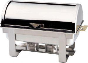 CD9801 Chafing Dish Chauffe-plat rectangulaire acier inox brillant Roll top