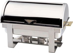 CD9801 Polished stainless steel Rectangular chafing dish with roll top lid