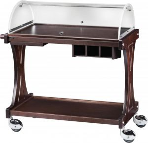 CL 2255 Wooden service trolley 2 shelves plx dome 86x55x110h