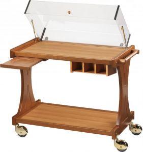 CL2351 Carrello per dolci, formaggi e antipasti legno 2 piani cupola 106x55x95h