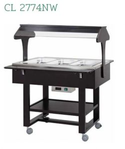 CL2774NW Thermal bain-marie wooded trolley for barquets 3x1/1GN Wengé